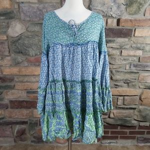 Chelsea & Theodore floral ruffle tunic dress large